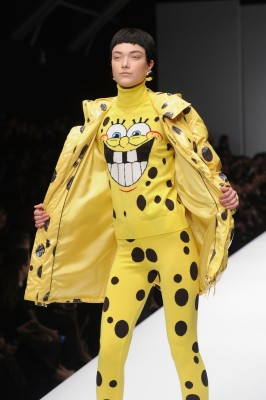 A model walks the runway at the Moschino fashion show at Milan Fashion Week Womenswear Autumn/Winter 2014 on February 20, 2014 in Milan, Italy.